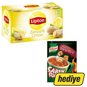 Lipton Zencefil Limon Bardak Poşet Çay 20'li + Knorr Çabuk Çorba Acılı Domates Hediyeli