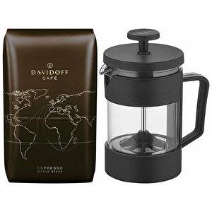 Davidoff Espresso Çekirdek Kahve 500 gr + Mulier ZCM-7202 French Press 350ml buyuk 1