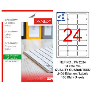 Tanex Tw-2024 Beyaz Adresleme ve Postalama Etiketi 64 mm x 34 mm buyuk 1