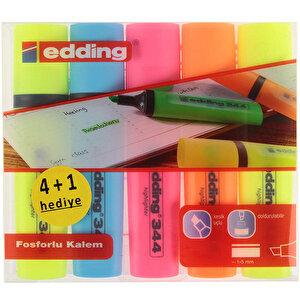 Edding 344 Fosforlu Kalem Karışık Renk 5'li Paket buyuk 4