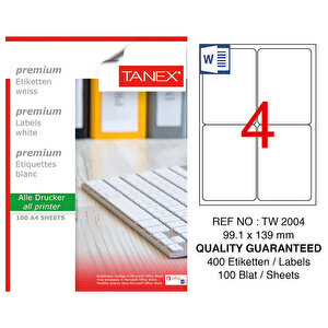 Tanex Tw-2004 Beyaz Sevkiyat ve Lojistik Etiketi 99.1 x 139 mm buyuk 1