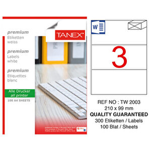 Tanex Tw-2003 Beyaz Sevkiyat ve Lojistik Etiketi 210 mm x 99 mm buyuk 1