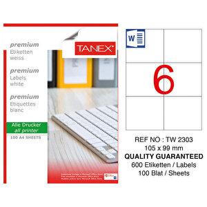 Tanex Tw-2303 Beyaz Sevkiyat ve Lojistik Etiketi 105 mm x 99 mm