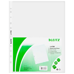 Leitz 4796 A4 Delikli Şeffaf Poşet Dosya 100'lü Paket buyuk 1