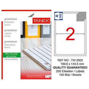 Tanex Tw-2002 Beyaz Sevkiyat ve Lojistik Etiketi 199.6 mm x 143.5 mm buyuk 1