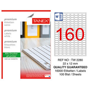 Tanex Tw-2280 Beyaz Etiket 22 mm x 12 mm buyuk 1