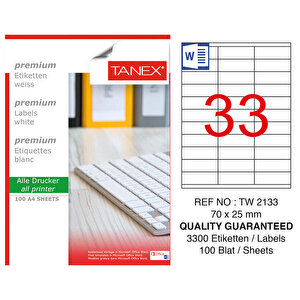 Tanex Tw-2133 Beyaz Etiket 70 mm x 25 mm