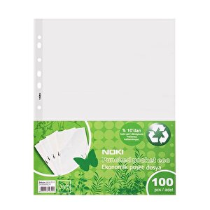 Noki Eko Şeffaf Poşet Dosya Delikli A4 100'lü Paket