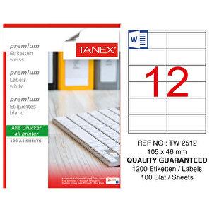 Tanex Tw-2512 Beyaz Adresleme ve Postalama Etiketi 105 mm x 46 mm buyuk 1