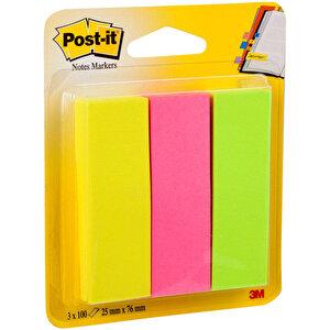 Post-it 671 Yapışkanlı Not Kağıdı 25 mm x 76 mm Sayfa İşareti 3 Renk 100 Yaprak