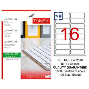 Tanex Tw-2016 Beyaz Etiket 99.1 mm x 34 mm
