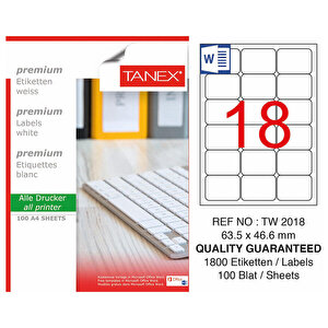 Tanex Tw-2018 Beyaz Adresleme ve Postalama Etiketi 63.5 mm x 46.6 mm