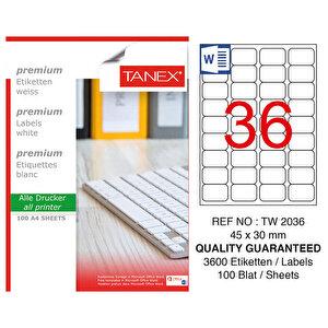 Tanex Tw-2036 Beyaz Etiket 45 mm x 30 mm buyuk 1