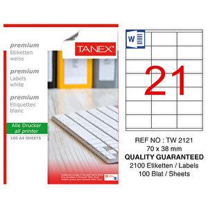 Tanex Tw-2121 Beyaz Adresleme ve Postalama Etiketi 70 mm x 38 mm buyuk 1