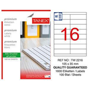 Tanex Tw-2216 Beyaz Adresleme ve Postalama Etiketi 105 mm x 35 mm