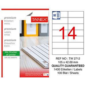 Tanex Tw-2712 Lazer Etiket 105 mm x 42.69 mm 14'lü buyuk 1
