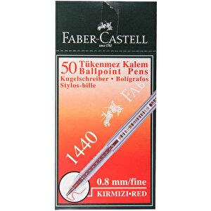 Faber Castell 1440 Tükenmez Kalem 0.8 mm Çelik Uçlu Kırmızı 50'li Paket buyuk 2