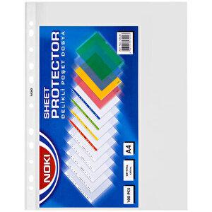 Noki 54430 A4 Crystal Delikli Şeffaf Poşet Dosya 100'lü Paket