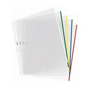 Noki 4833 A4 Delikli Şeffaf Poşet Dosya Renkli Kenarlı 25'li Paket buyuk 1