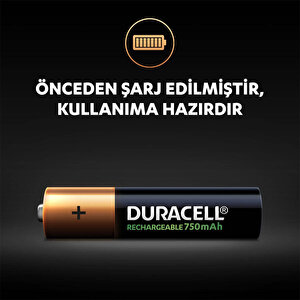 Duracell Şarj Edilebilir AAA 750mAh Piller, 2'li paket buyuk 3