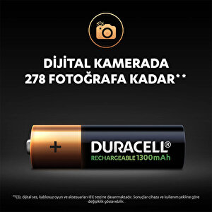 Duracell Şarj Edilebilir AA 1300mAh Piller, 2'li paket buyuk 7