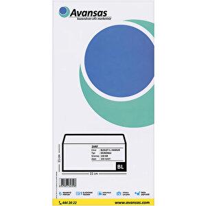 Avansas Buklet Zarf Beyaz 110 gr Silikonlu 11 cm x 22 cm 100'lü Paket buyuk 2