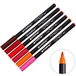 Edding E-4200 Porselen Kalemi Fırça Uçlu Sıcak Renkler 6'lı Paket