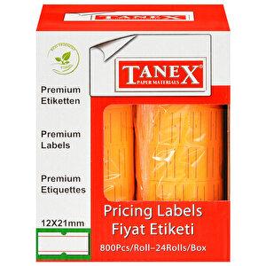 Tanex Motex Çizgili Turuncu 12 mm x 21 mm Fiyat Etiketi 24'lü Paket buyuk 2