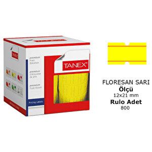 Tanex Motex Çizgili Sarı 12 mm x 21 mm Fiyat Etiketi 24'lü Paket buyuk 1
