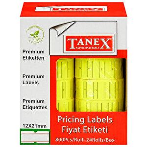 Tanex Motex Çizgili Sarı 12 mm x 21 mm Fiyat Etiketi 24'lü Paket buyuk 2