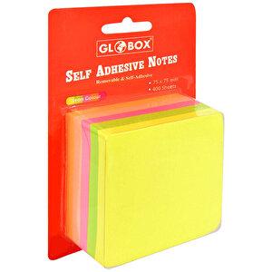 Globox Yapışkanlı Not Kağıdı 75 mm x 75 mm Neon Renkler 400 Yaprak buyuk 1