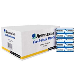 Avansas Soft Eco Z Katlama Kağıt Havlu 19,5 cm x 24 cm 1 Koli (12 Paket)