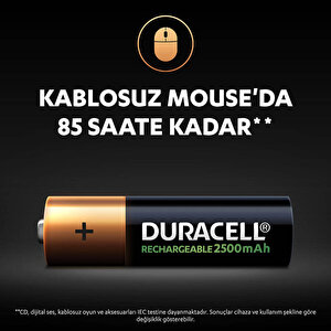 Duracell Şarj Edilebilir AA 2500mAh Piller, 2'li paket buyuk 6