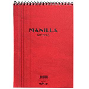 Le Color Manilla Notepad Bloknot Kareli A5 Kırmızı 70 Yaprak