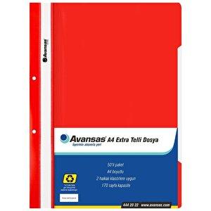 Avansas Extra Telli Dosya Kırmızı 50'li Paket