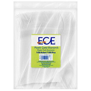 Ece Eko Plastik Çatal Beyaz 100'lü Paket