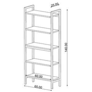Avansas Comfort Metal Ayaklı 5 Raflı Çok Amaçlı Kitaplık Endülüs Meşe buyuk 4