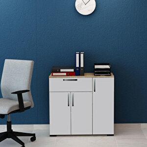 Avansas Comfort Çok Amaçlı 3 Kapaklı Geniş Çekmeceli Dolap Beyaz / Endülüs Meşe buyuk 2