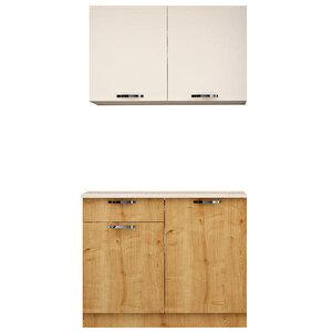 Avansas Mutfak Dolabı 120 cm Beyaz / Safir Meşe buyuk 1