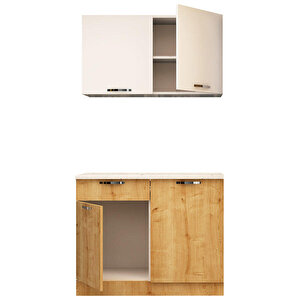 Avansas Mutfak Dolabı 120 cm Beyaz / Safir Meşe buyuk 2