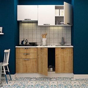 Avansas Mutfak Dolabı 160 cm Beyaz / Safir Meşe buyuk 2