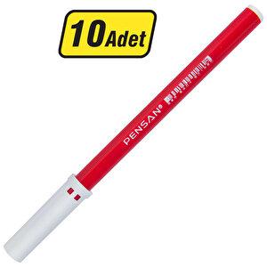 Pensan 3003 Keçeli Kalem Kırmızı 10'lu Paket