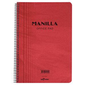 Le Color Manilla Yumuşak Kırmızı Kapaklı Spiralli Çizgili Defter 21 cm x 30 cm 90 Yaprak