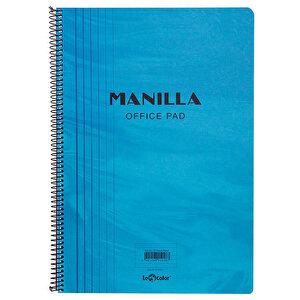 Le Color Manilla Yumuşak Mavi Kapaklı Spiralli Kareli Defter 21 cm x 30 cm 90 Yaprak