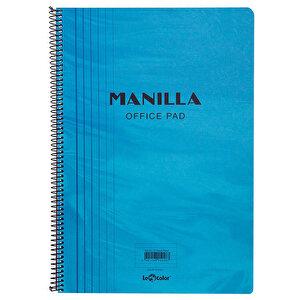 Le Color Manilla Yumuşak Mavi Kapaklı Spiralli Çizgili Defter 21 cm x 30 cm 90 Yaprak