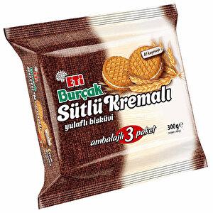 Eti Burçak Sütlü Kremalı Bisküvi 300 gr 3'lü Paket