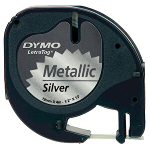 Dymo Letratag Metalik Etiket 12 mm x 4 m Gümüş buyuk 1
