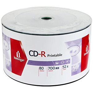Iomega ICSP50PR CD-R Printable 52X 700 MB Robotik 50'li Paket