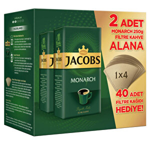 Jacobs Monarch Filtre Kahve 2 x 250 gr 40 Adet Filtre Kağıdı Hediyeli buyuk 1