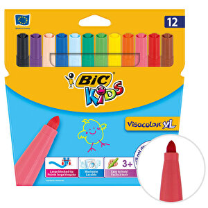 Bic Kids Visa Color 829007 Yıkanabilir Jumbo Keçeli Boya Kalemi 12'li Paket